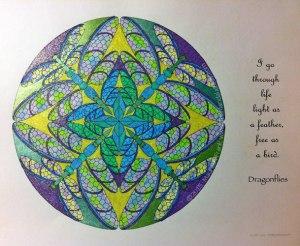 Dragonflies Mandala - coloring by Celia
