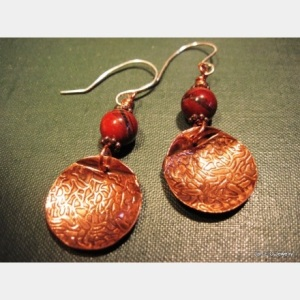 Jasper and Copper Mandala Earrings by Jan O'Banion