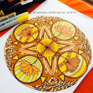 Yellow Orange Mandala by wenuitun