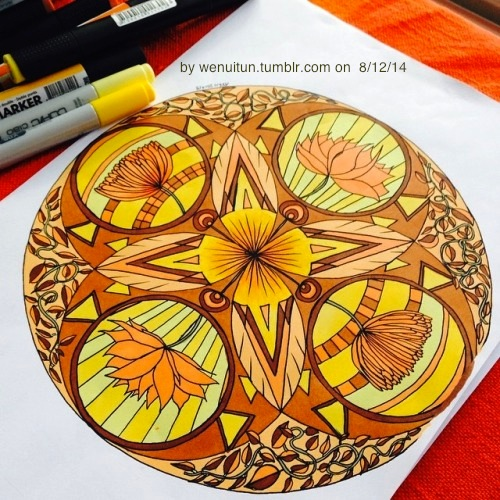 Yellow Orange Mandala by wenuitun