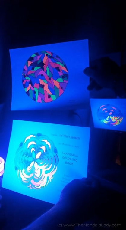 Glow in the Dark Mandalas - Colouring by Michelle and her Mandala Colouring Compadres