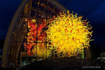 "Chihuly's ""The Sun"" at Chihuly Glass and Garden Exhibit in Seattle"