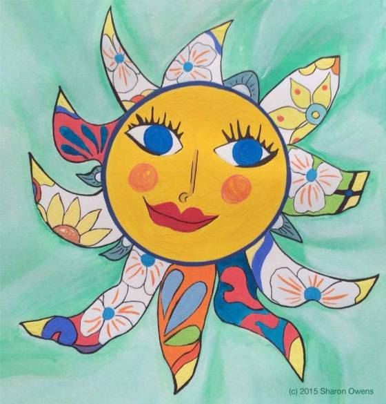 Happy Sun Face Mandala by Sharon Owens