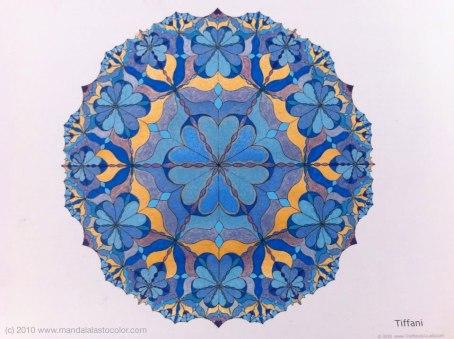 Tiffani Mandala - Design by TheMandalaLady.com, Coloring by Celia
