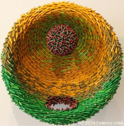 Pencil Sculpture Mandala by Federico Uribe