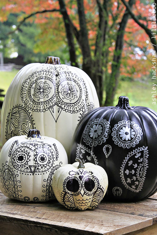 Sharpie Owl Pumpkins by Ashley Hackshaw