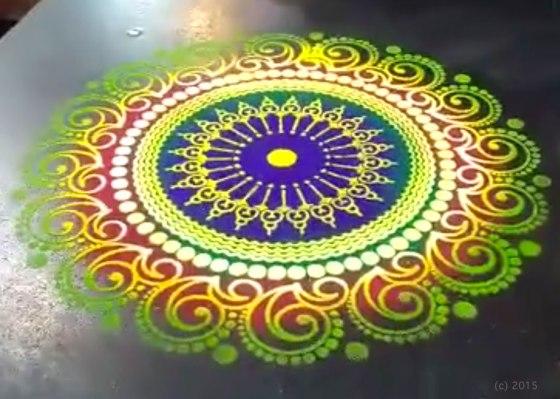 Colorful Sand Mandala Demonstration