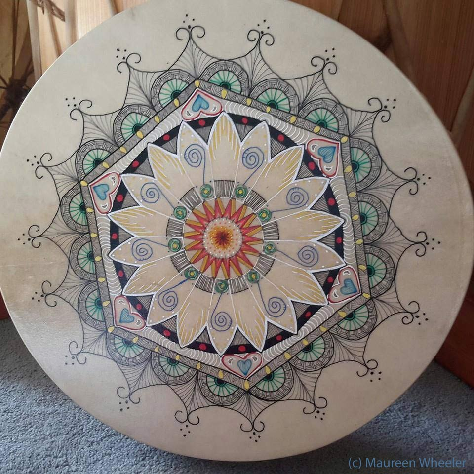 Painted Drum Mandala by Maureen Wheeler
