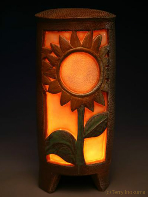 Sunflower Luminaria lit up