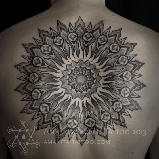 Sun Mandala Tattoo by Amanita Sacred Tattoo