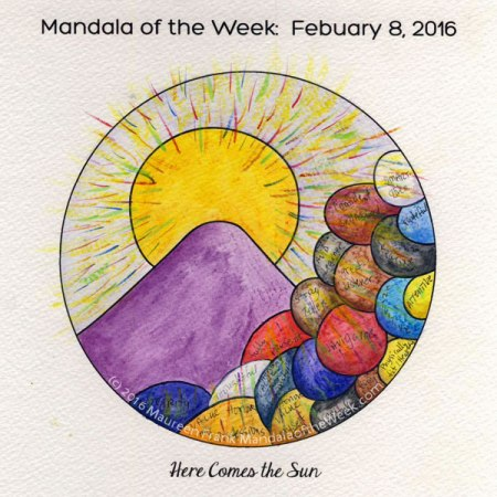 Here Comes the Sun Mandala by Maureen Frank watercolors on w/c paper
