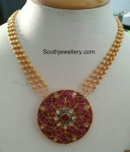 Gold Balls and Ruby Pendant