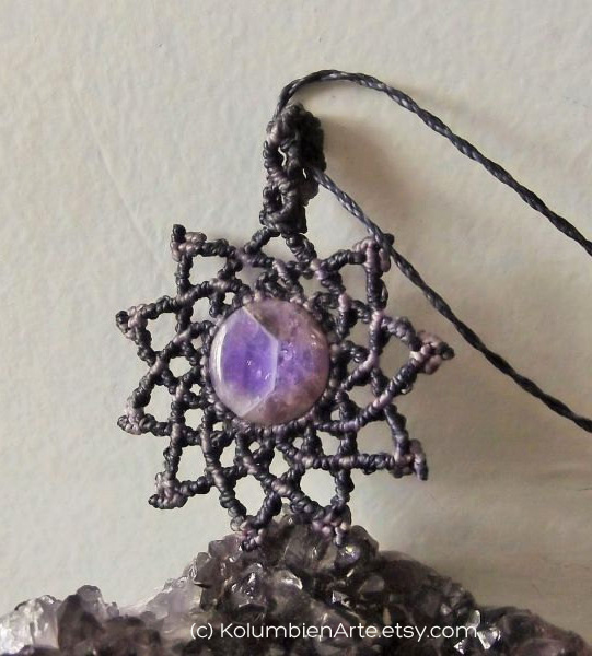 Amethyst Stone & Macrame Necklace