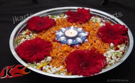 Flower Rangoli on Water by JKArts.in