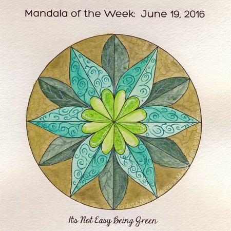 It's Not Easy Being Green Mandala by Maureen Frank