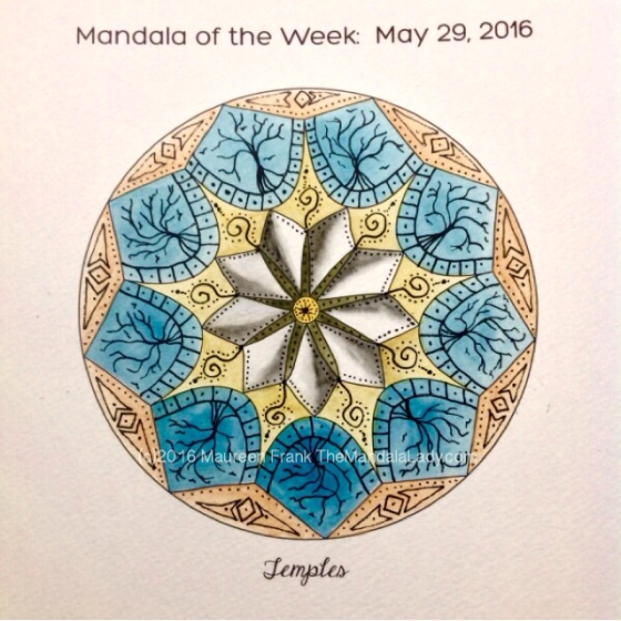 Temples Mandala in Color by Maureen Frank