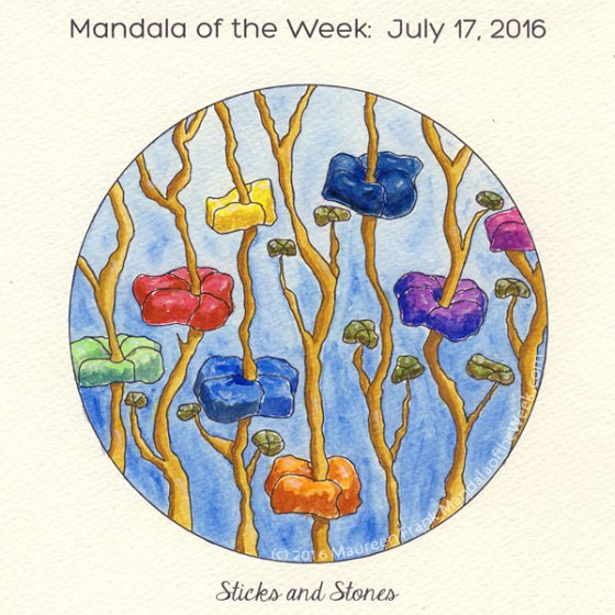 Sticks and Stones Mandala in Color by Maureen Frank