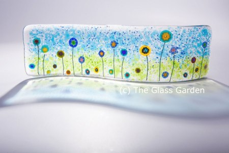 Millefiore Flower Fused Glass Wave by The Glass Garden