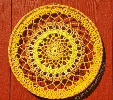 Yellow Crocheted Mandala by Lise Solvang