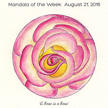 A Rose is a Rose Mandala in Color by Maureen Frank