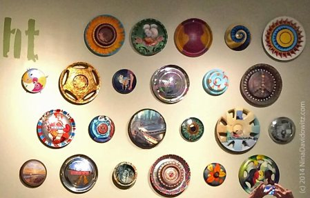 Hubcaps as Art - close up view