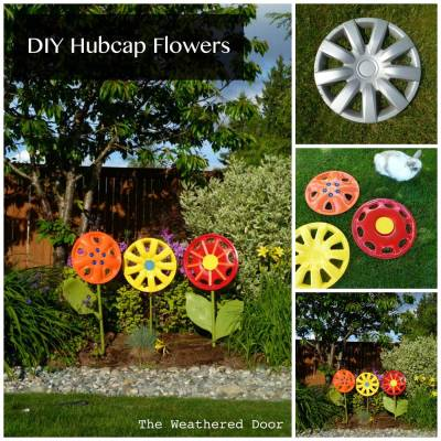 Hubcap Flowers by TheWeatheredDoor.com