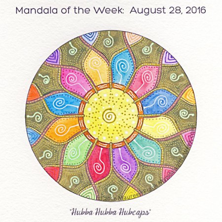 Hubba Hubba Hubcaps Mandala in Color by Maureen Frank