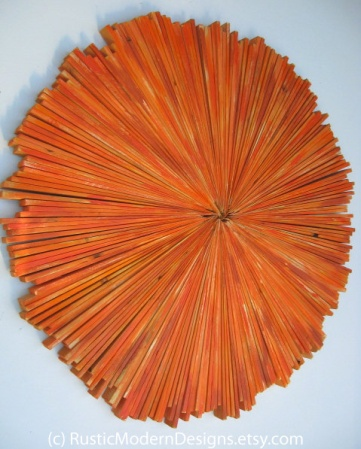 Rustic Wood Wall Art Painted Orange by Rustic Modern Designs