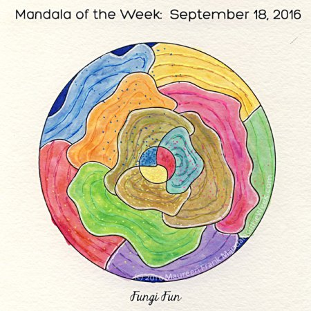 Fungi Fun Mandala in color by Maureen Frank