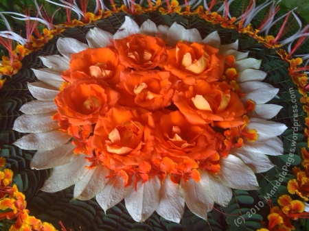 Orange Flowers Mandala by Lemoel Senillo