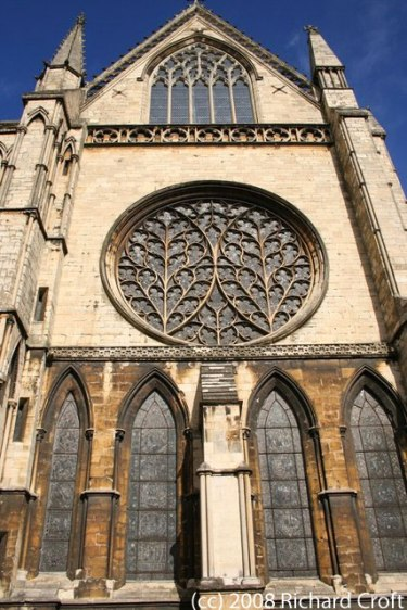 Outside view of Lincoln Cathedral rose window - photo by Richard Croft