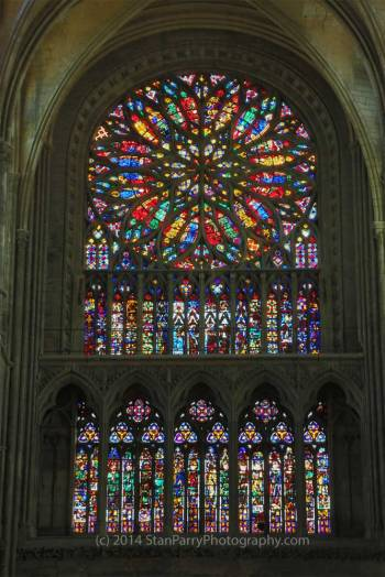 Amiens Cathedral Rose Window from inside - photo by Stan Parry