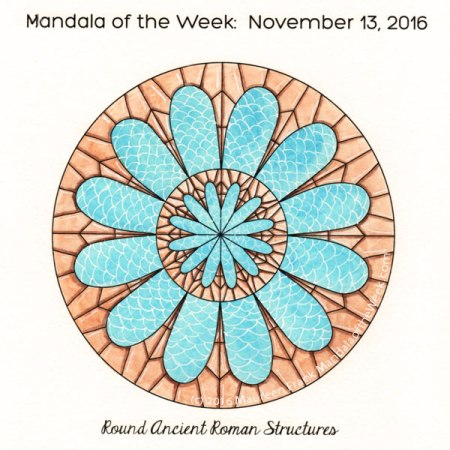 Round Ancient Roman Structures Mandala in Color by Maureen Frank (me)
