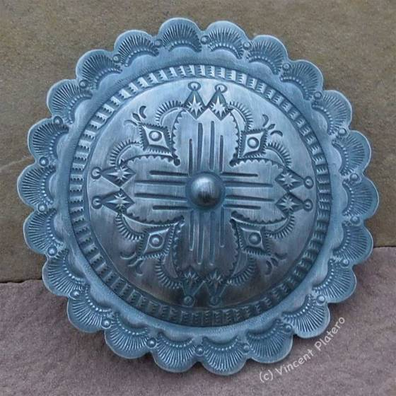 Silver Concho Belt Buckle by Vincent Platero