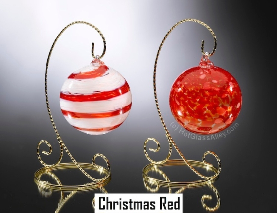 Christmas Red Ornaments by HotGlassAlley.com