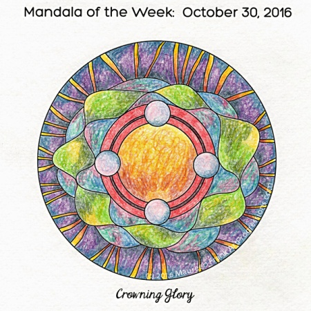 Crowning Glory Mandala in color (without water) by Maureen Frank (me)