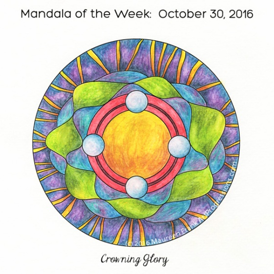Crowning Glory Mandala in color by Maureen Frank (me)