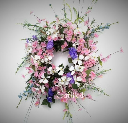 Pink and White Dogwood Wreath by CraftiLadi.com