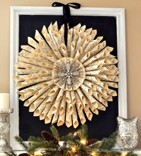 Vintage Music Page Wreath by TheFrugalHomemaker.com
