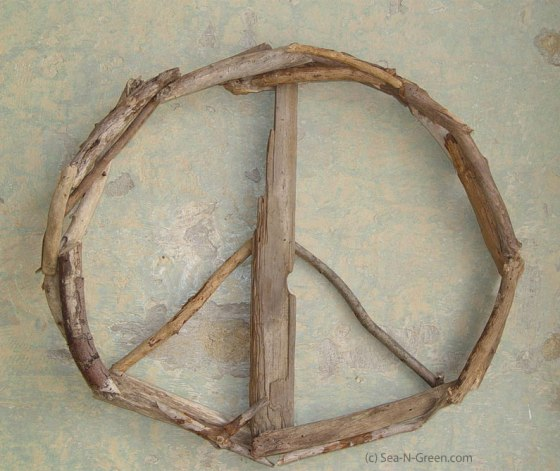 Driftwood Peace Sign by Sea-n-Green.com
