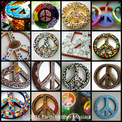 Mosaic Peace Symbols by Earth Mother Mosaics