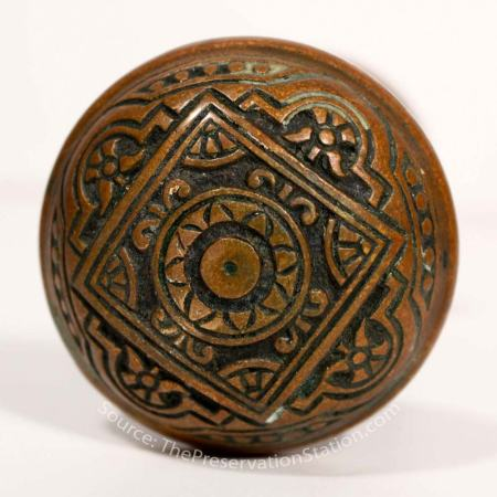 19th Century Antique Cast Bronze Eastlake Door Knob<br />source: ThePreservationStation.com