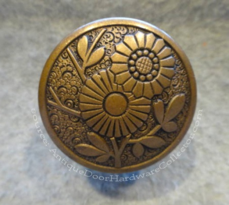 Antique Flower Door Knob Made by Russell & Erwin - source: AntiqueDoorHardwareCollector.com
