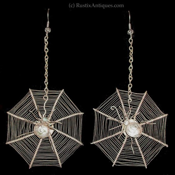 Chinese Victorian Silver Wire Spider Web Earrings