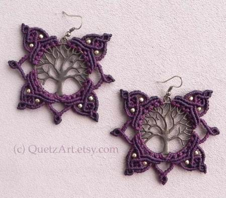 Macrame Tree of Life Earrings by QuetzArt.etsy.com