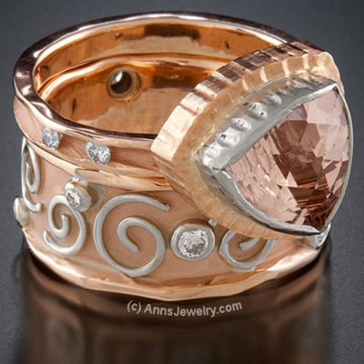 White and Rose Gold Ring with Topaz and Diamonds by AnnsJewelry.com