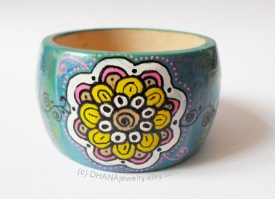 Handpainted Wooden Bracelet by DHANAJewelry.etsy.com