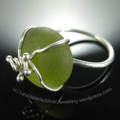 Sea Glass and Silver Ring by LaVidalerieSilverJewellery.wordpress.com