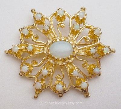 Vintage Opal Brooch - source: KlinesJewelry.etsy.com