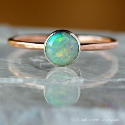 14kt Gold Opal Ring by ShopClementine.etsy.com
